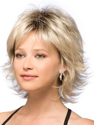 Short layered hairstyle..
