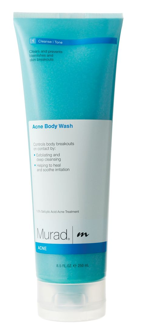 Murad Acne Body Wash. Murad Acne Body Wash uses Date Seed Powder to exfoliate and remove dead skin cells and decrease the redness of back acne scars while Green Tea and Licorice Root Extracts provide anti-inflammatory benefits. A final dose of Salicylic Acid heals the body acne that you already have while also preventing future breakouts