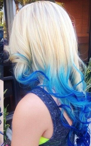 Blue & blonde dip dyed ombre hair