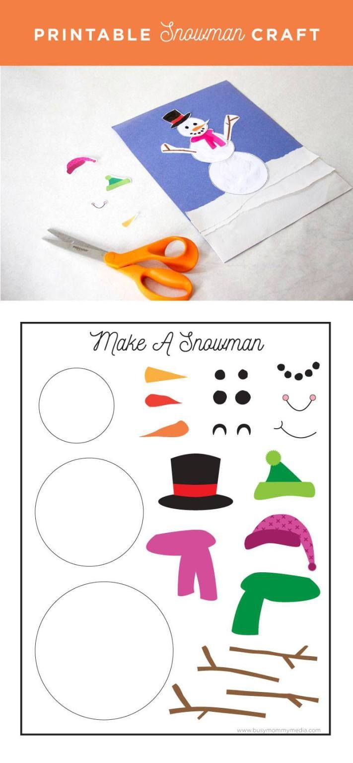 Printable Snowman Craft on http://BusyMommyMedia.com | This is such a cute craft idea!