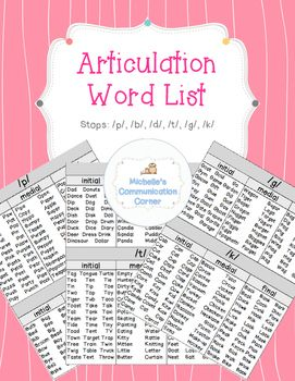 Do you have trouble thinking of new words for articulation therapy? These word lists provide stop phonemes in the initial, medial, and final position for quick access! This produce includes: 1. Word lists of words with stop (/b/, /p/, /d/, /t/, /g/, /k/) phonemes in the initial, medial, and final positions.