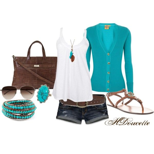 Aqua and BrownAqua And Brown Fashion, Colors Combos, Aqua Brown, Summer Outfits, Aqua Turquoise, Brown I, Turquoise Brown, Aqua Outfit, Longer Shorts