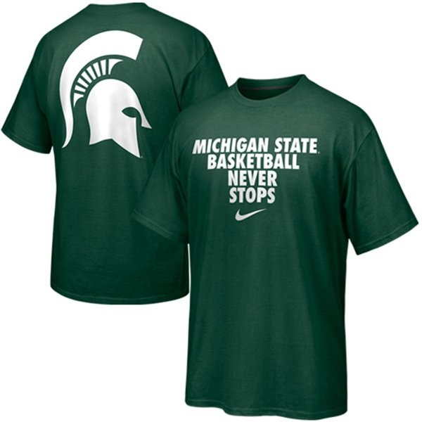 Nike Michigan State Spartans Basketball Never Stops T-Shirt - Green