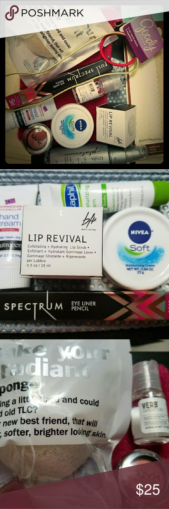MISC MAKEUP BAG mix up of makeup,hair and face products. All new none swatched  or tested. Included is mug espresso eye liner ($9) beauty for real lip scrub ($14) gorge I'll make you radiant sponge  ($16) nyx single shadow in fire ball ($6) goody head wrap and elastic, Kenya thickening spray. Huge value. Absolutely no trading or PayPal so please don't ask. Please ask questions.  I'll work with anyone. Don't want people unhappy. I have no control over shipping cost. Fast shipper (winter…