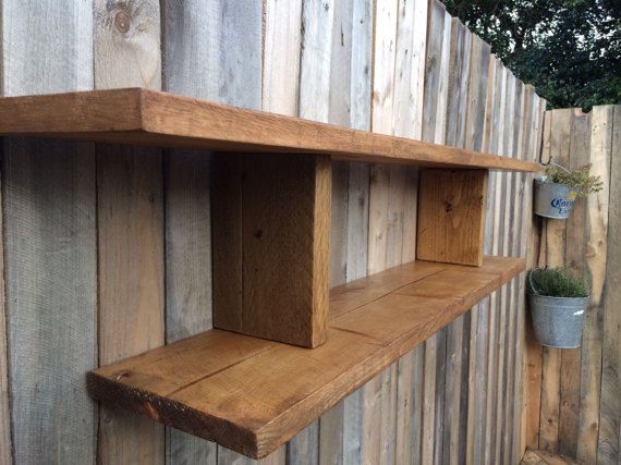 Chunky handmade solid wooden shelf. by TheWoodForgeCo on Etsy