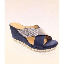 Sandalo camoscio blu e fascia in strass con zeppa in corda e strass N 39