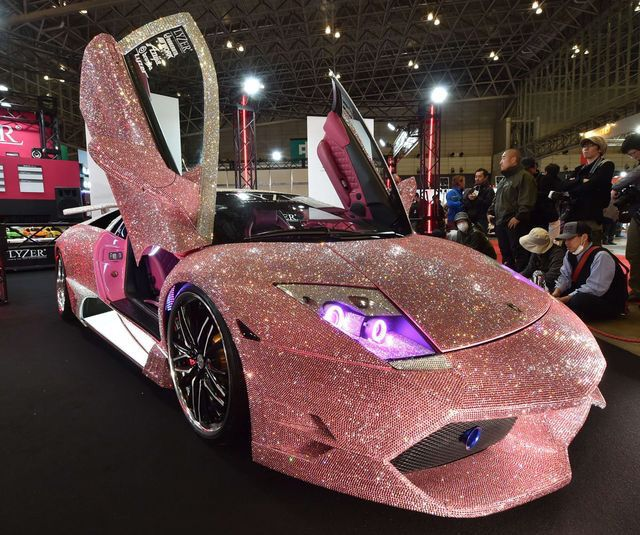 #The Lamborghini #Murcielago finished #with pink #Swarovski crystals #on the #whole body.