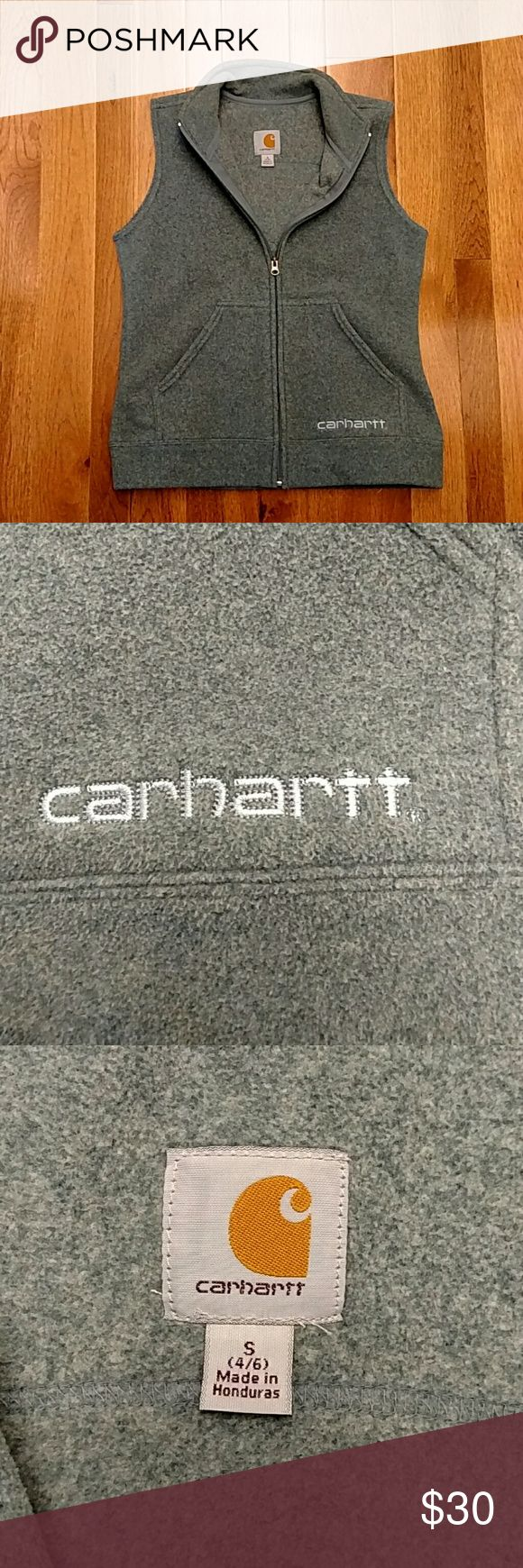 Carhartt Fleece Vest Comfy fleece vest with pockets! Like new condition! Wore a couple times and lived the extra layer of warmth without the restrictions of sleeves. I dropped sizes since last winter--need to find this great piece a new home before winter! Smoke and pet free home. Carhartt Jackets & Coats Vests