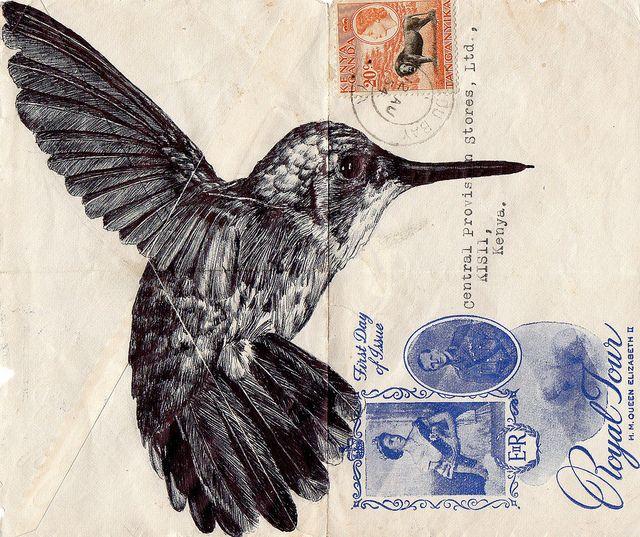 Mark Powell, biro pen on vintage envelope