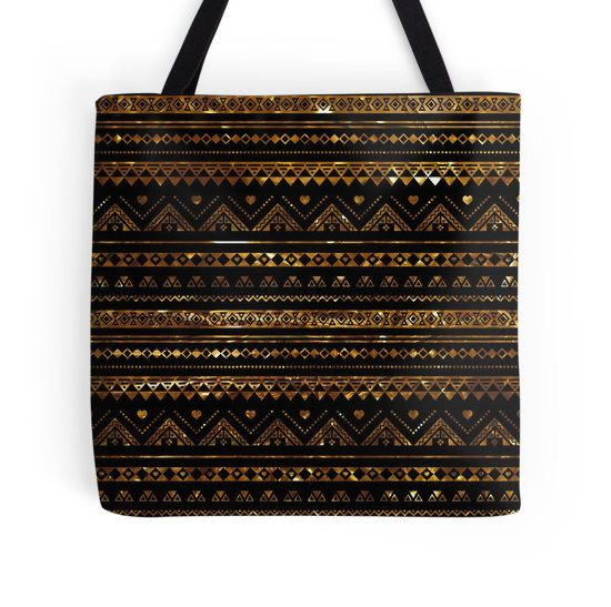 Aztec Black Tinsel Gold Tote Bag - Available Here: http://www.redbubble.com/people/rapplatt/works/11792090-aztec-black-tinsel-gold?p=tote-bag