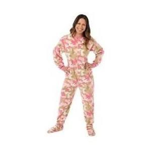 Pink Camo Camouflage Micro Polar Fleece Adult Footie Footed Pajamas Loungewear W/ Drop Seat - Brought to you by Avarsha.com