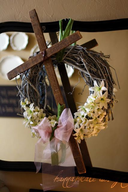 Here's an Easter wreath with a different message.  Loved this bloggers use of reclaimed wood in her design.  DIY wreath.  Spring wreath. Easter decorations. Cross wreath. Resurrection Sunday.