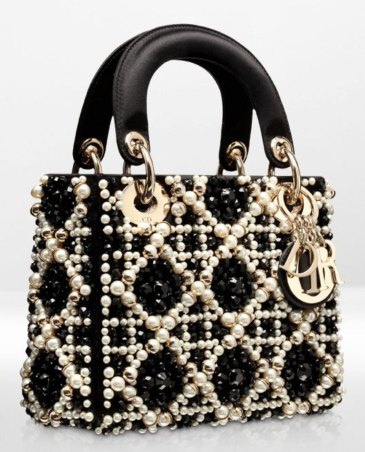 Lady Dior, satin with black and white pearls