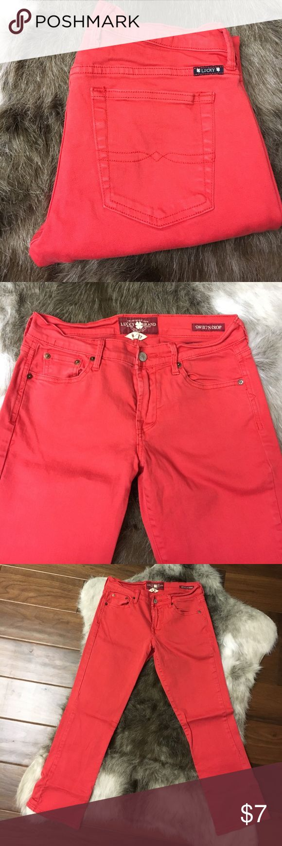 """Lucky Brand Coral Capris 4/27 Great condition. """"Sweet'N Crop"""" Lucky Brand coral colored capri's. size 4/27 Lucky Brand Jeans Ankle & Cropped"""