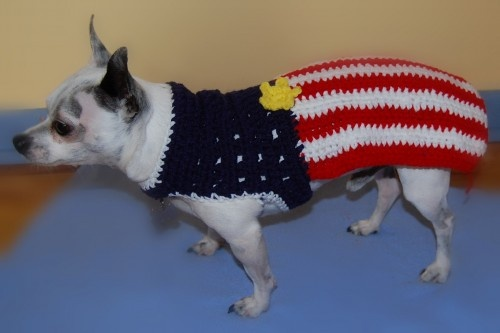 Patriotic American Flag Dog Sweater
