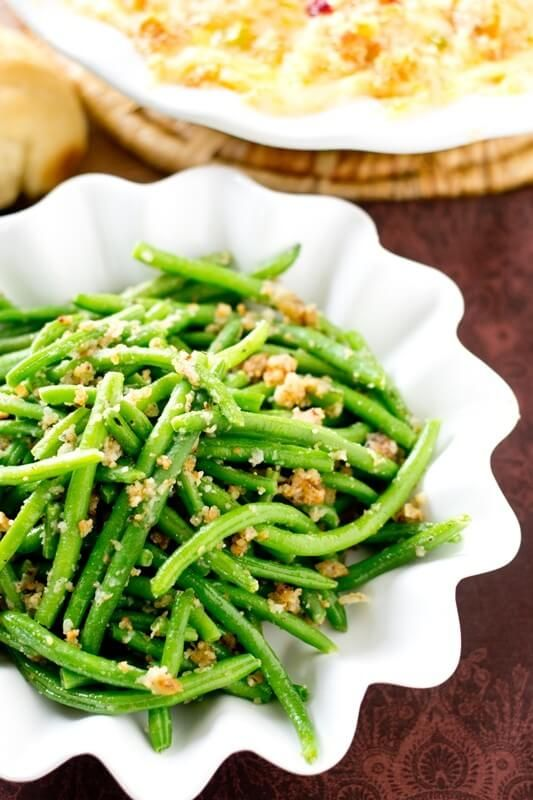 ... Green Beans are sauteed in butter, bread crumbs and parmesan cheese