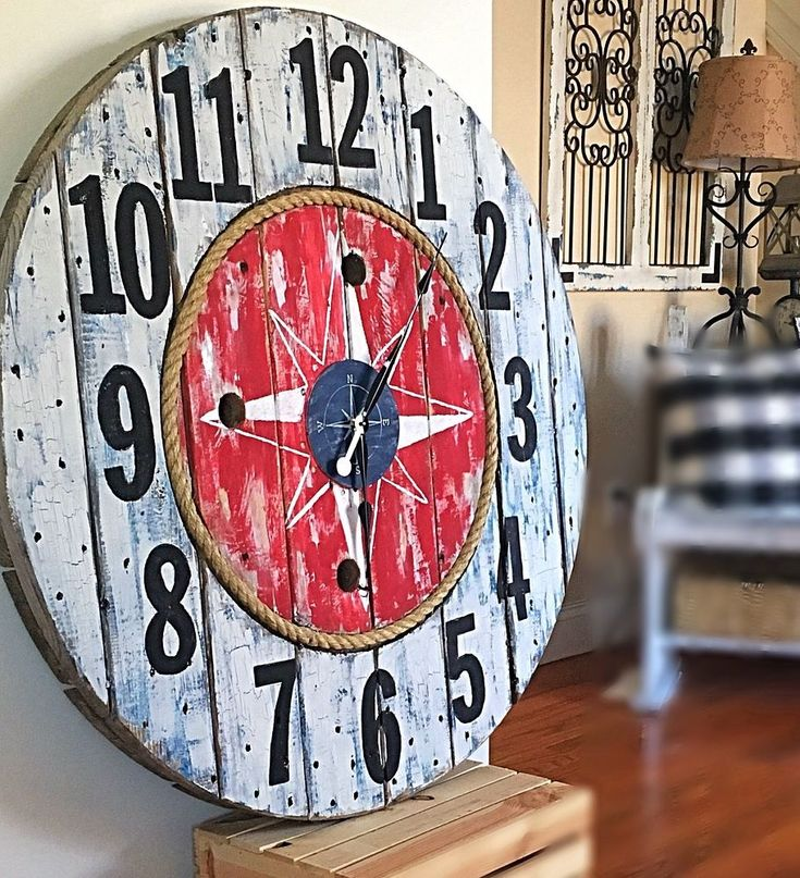 I wanted to make a nautical clock I had the colors and the look all ready done in my head lol ,but with diy things don't  always go as planned .  Like always U…