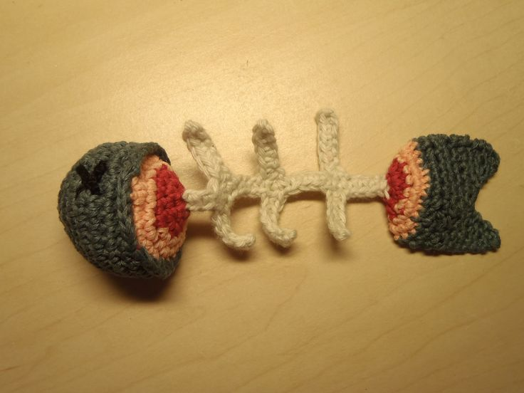 Crochet cat toy fish with cat nip stuffing