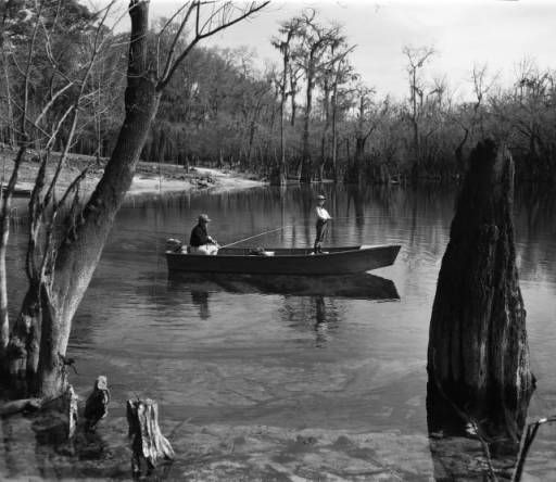 Father and son fishing on a swampy creek, circa 1940s. AJCN081-070d, Atlanta Journal-Constitution Photographic Archives. Special Collections and Archives, Georgia State University Library.