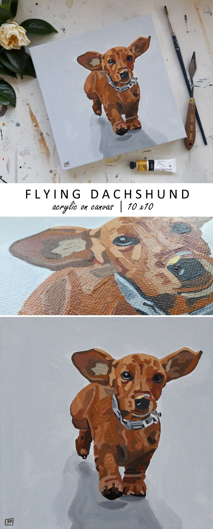 """Buy Paintings Online. Flying Dachshund Dog Painting. Acrylic on Canvas Painting 10 x 10"""" by Rebecca Potter. July 2017 www.rebeccapotterart.com"""