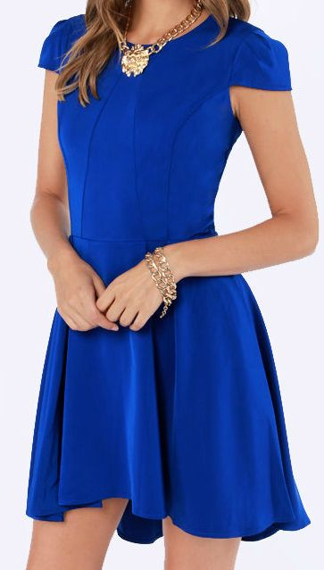 style a skater dress in blue