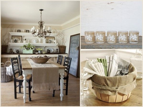 Dining room.Bushel Baskets, Dining Area, Dining Room, Floating Shelves, Burlap Ideas, Wall Shelves, Tables Runners, Cards Baskets, Burlap Projects