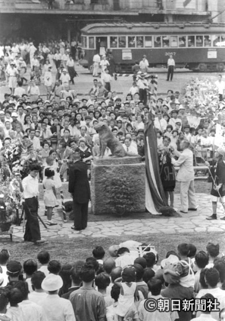新しい忠犬ハチ公像の除幕式=1948年 the 1948 inauguration ceremony of Hachiko, Shibuya sta.