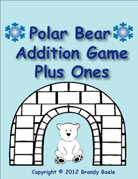 """Free!  Polar bear addition game for adding on one.   I like this activity because the """"Plus One"""" strategy is a useful tool to teach children.  when building their proficiency with addition facts."""