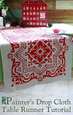 Painter's Drop Cloth makes great Stenciled Runner #LowesCreator