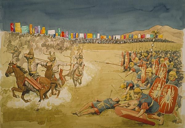 """The Battle of Carrhae was fought in 53 BCE between the Roman Republic and the Parthian Empire near the town of Carrhae. The Parthian Spahbod (""""General"""") Surena the Iranian decisively defeated a numerically superior Roman invasion force under the command of Marcus Licinius Crassus. It is commonly seen as one of the earliest and most important battles between the Roman and Parthian empires and one of the most crushing defeats in Roman history."""