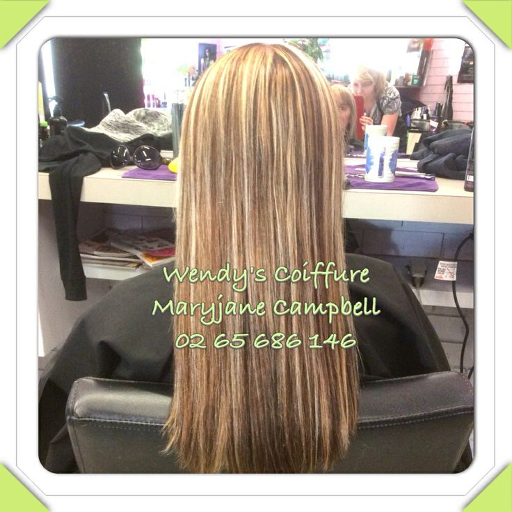 Full head of hi-lift blonde and natural brown chunky foils.