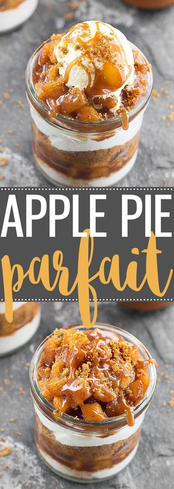Apple Pie Yogurt Parfait -  the perfect easy dessert for fall gatherings! It's creamy, crunchy, perfectly sweet, subtly spiced and delicious via @easyasapplepie