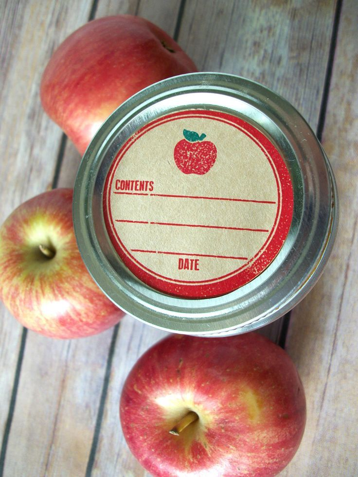 Rubber Stamp Apple Kraft Paper Canning Jar labels, 2 inch rustic round red mason jar stickers, jam jar labels, applesauce canning jar label, CanningCrafts, $6