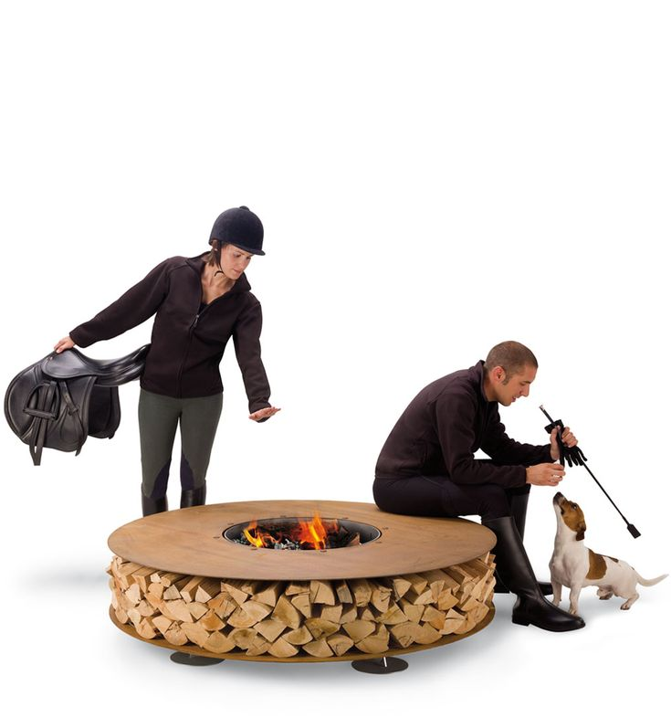 I don't know what's happening here (did they just finish riding?), but I like this fire pit.