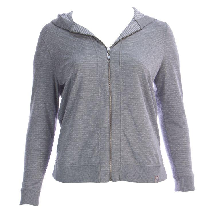 Marina Rinaldi Women's Grey Oculare Polka Dot Zip Up Hoodie $355 Nwt