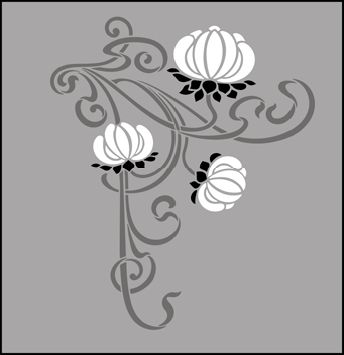 Art Nouveau Motif No 81 stencils, stensils and stencles