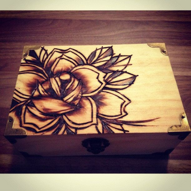 pyrography. woodburning. traditional rose...