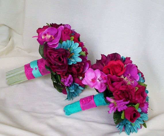 LOVE LOVE LOVE THESE  Fuschia Wedding Flower Package Malibu Turquoise by AmoreBride