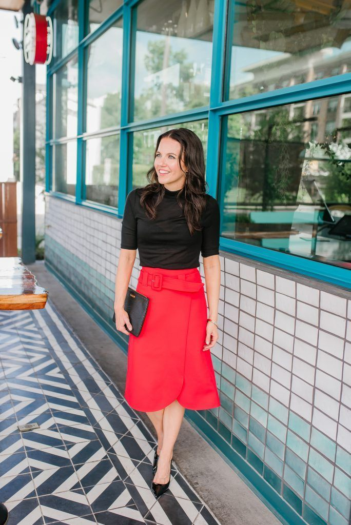 b63d4d1835 fall outfit | red midi skirt | black turtleneck blouse | Houston Fashion  Blogger Lady in Violet #falloutfit #redskirt #blackturtleneck #workwear
