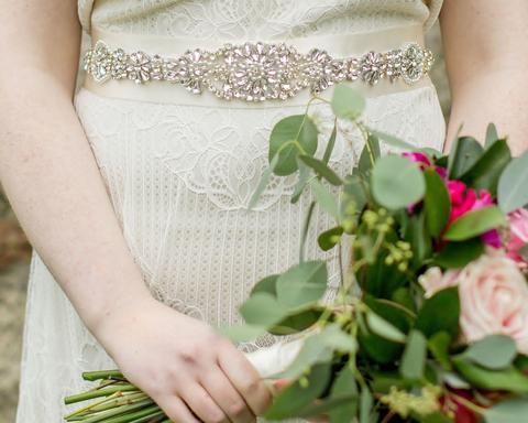 Birdcage Veils & Fascinators - Hand Beaded & Embellished Wedding Gown Belt Sash, Marlena