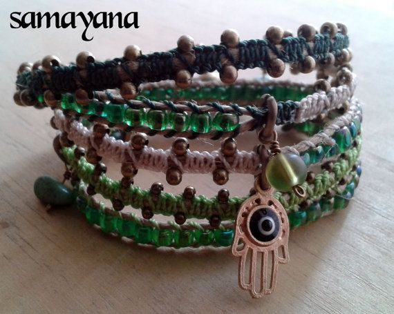 Bracelet Varanasi 5 turns green gold plated Charm por Samayana