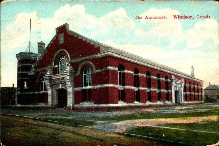 WINDSOR, CANADA, Armouries, Stevens Point WI, 1907 Vintage Postcard CAN805319