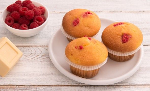 Muffin al lampone e cioccolato bianco
