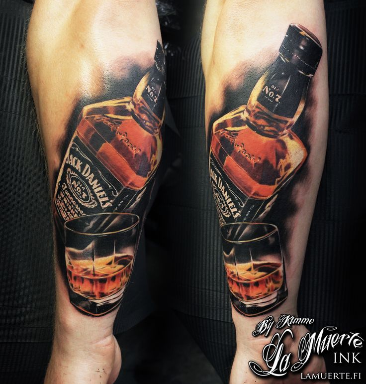 Jack Daniels tattoo by Kimmo Angervaniva @ La Muerte Ink