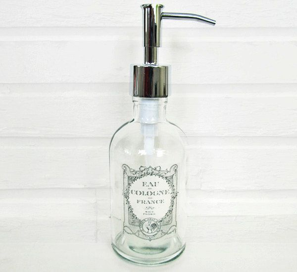 Attractive Glass Soap Dispenser Subtle Vintage French Label Lotion Dispenser Kitchen  Soap Dispenser Stainless /Nickel Chrome