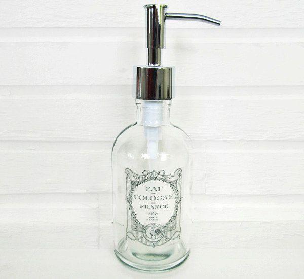 Glass Soap Dispenser Subtle Vintage French Label Lotion Dispenser Kitchen Soap Dispenser Stainless /Nickel Chrome Bronze Copper Soap Pump by lovesoldstuff on Etsy https://www.etsy.com/listing/129289379/glass-soap-dispenser-subtle-vintage