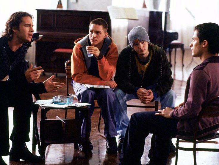 James D'Arcy with Tom Hardy, Charlie Cox and Gael Garcia Bernal. Dot the I was Charlie Cox's first time on a film set and Gael's first English language rol
