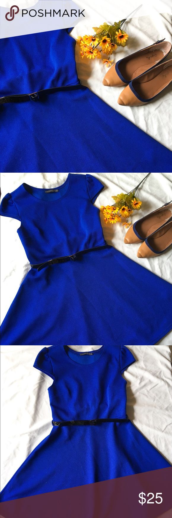 "Blue skater dress EUC blue dress with black belt. Belt has some wear but could be easily replaced. Dress is versatile, either for work or a night out! Size is UK 8 • length 33"", waist 13"", hips free • 100% Polyester • Wash with like colors • Hang dry Atmosphere Dresses"