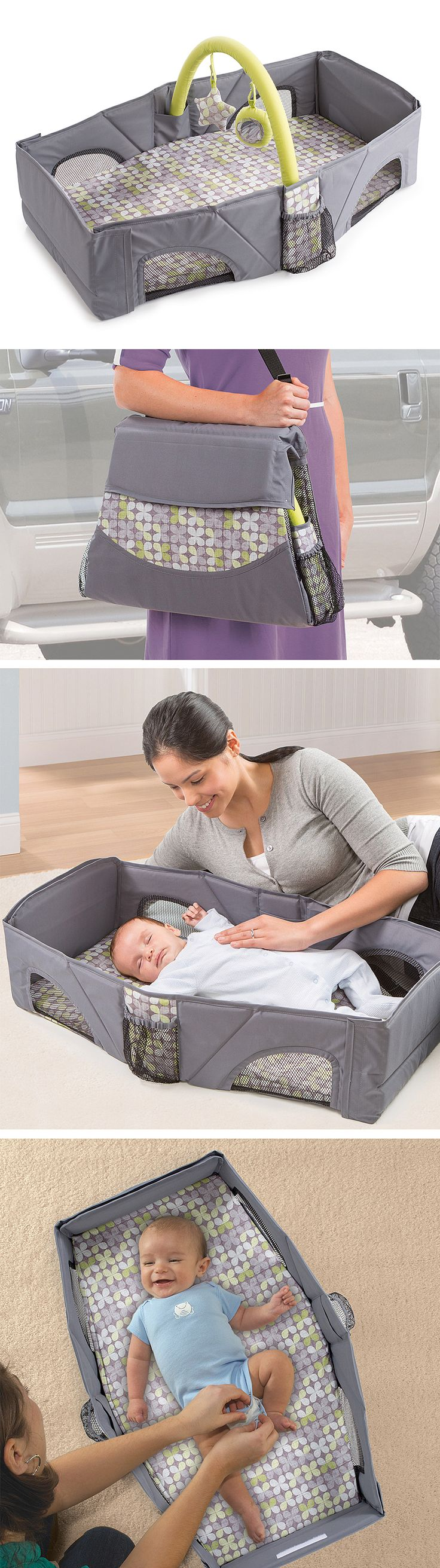 Folding Travel Crib Bed & Diaper Play Station // folds up to the size of a small tote bag, perfect for travelling with a small baby. #product_design