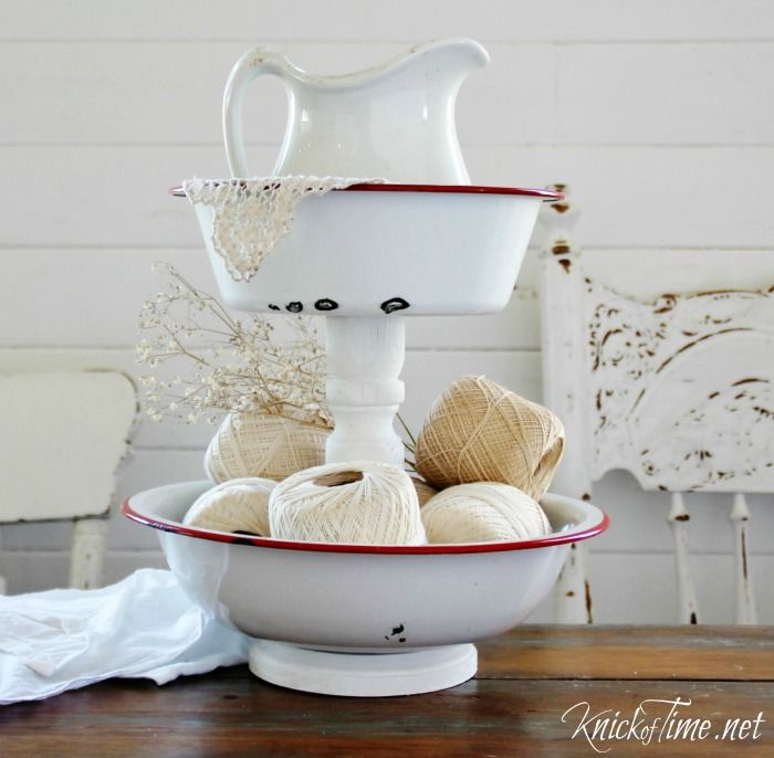 Repurposed Kitchen Tools Enamelware Bowls Tiered Stand via KnickofTime.net